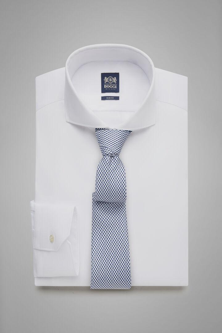 Hemd Navyblau Mit Napoli-Kragen Slim Fit, Weiß, hi-res