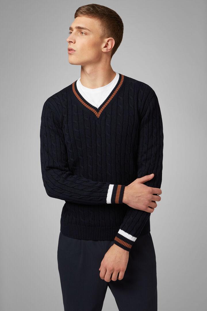 Pullover Mit V-Ausschnitt Aus Baumwolle, Navy blau, hi-res
