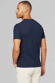 T-SHIRT IN COTONE & LINO CON SCOLLO V, NAVY, hi-res