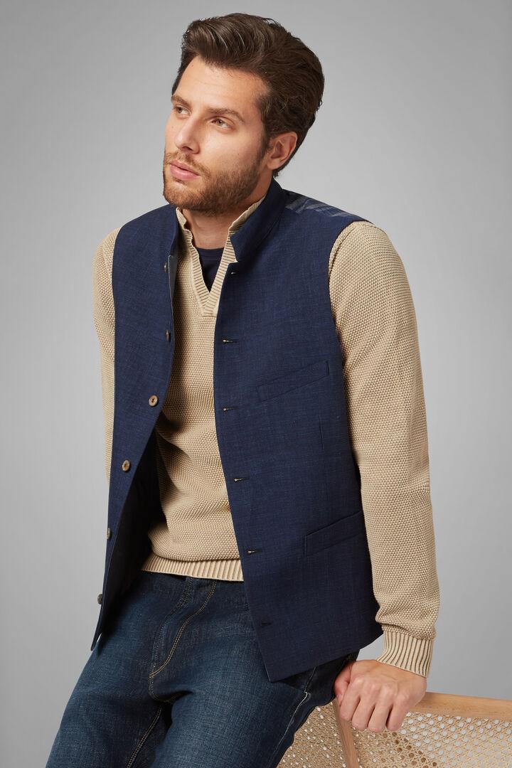 Cotton/Linen/Tencel Mandarin Collar Waistcoat, Blue, hi-res