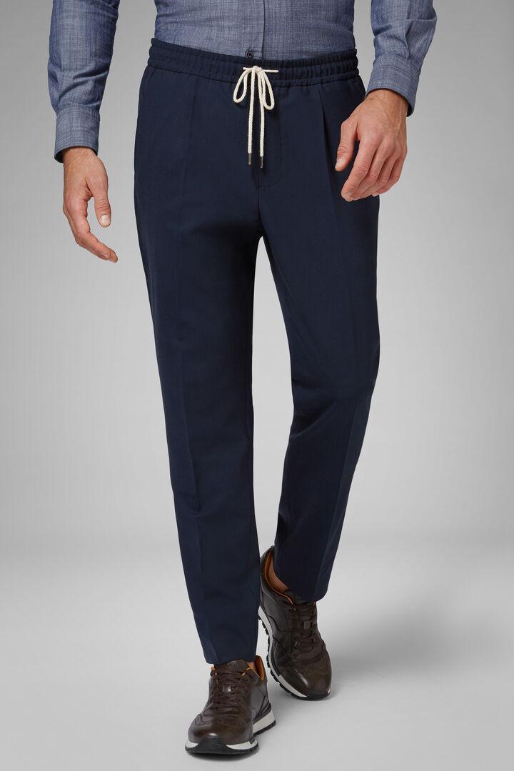 Pantalon En Laine Lavable Avec Cordon De Serrage Coupe Droite, Bleu, hi-res
