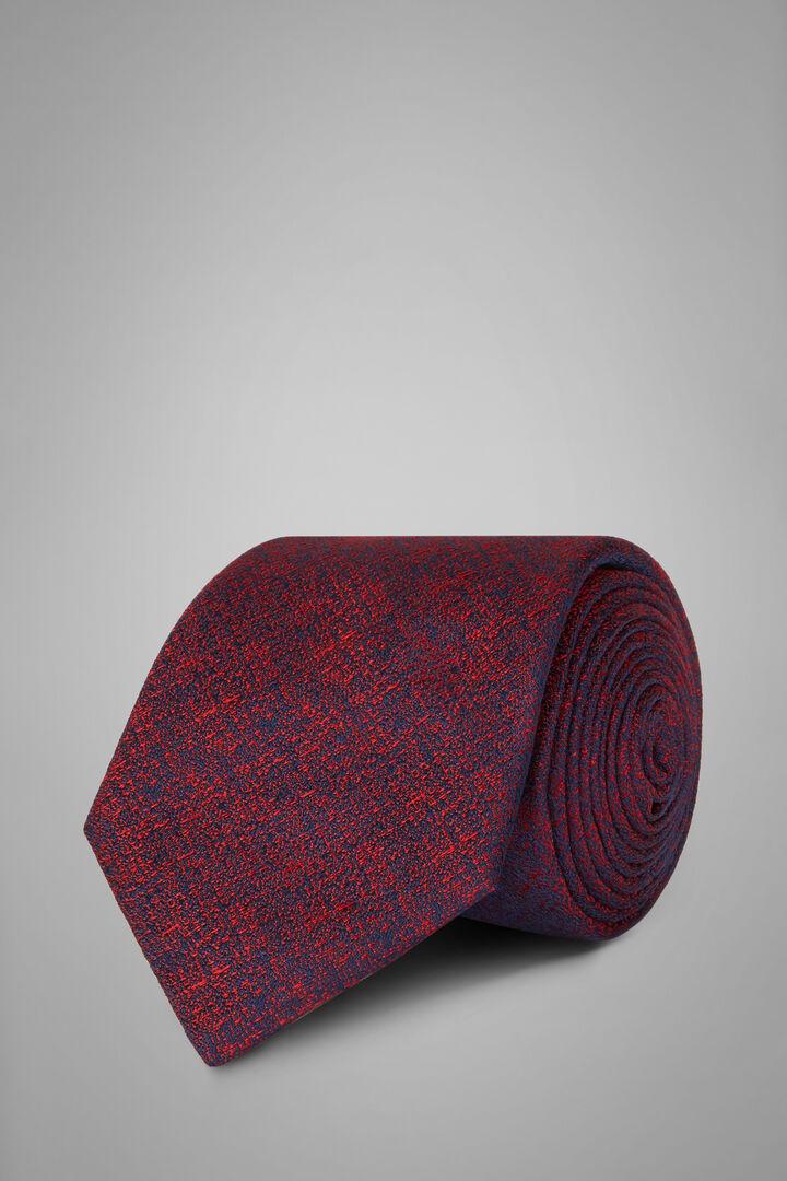 Plain Silk Jacquard Tie, Blue - Burgundy, hi-res