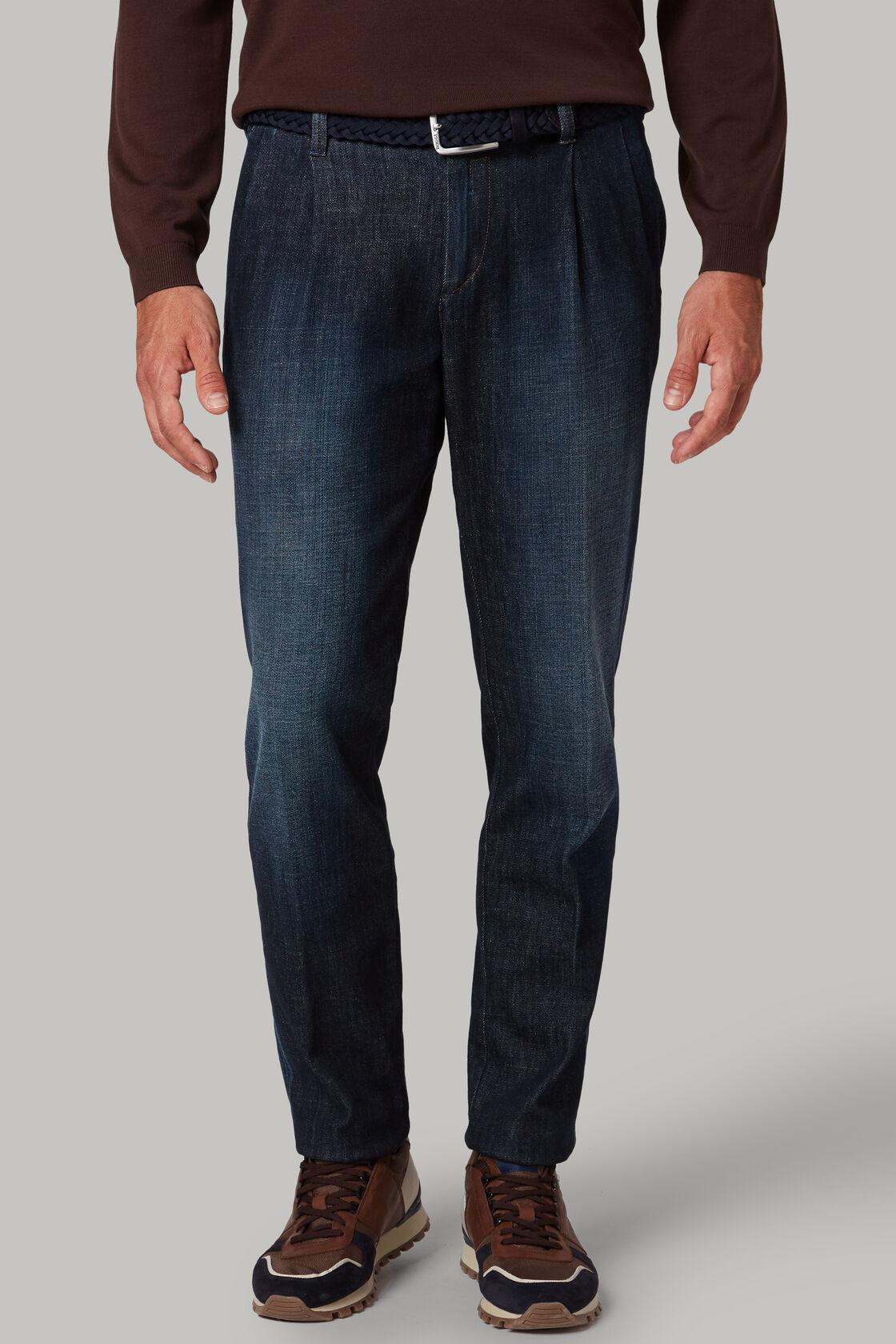 Pantalone In Denim Con Lavaggio Scuro E Due Pinces, , hi-res