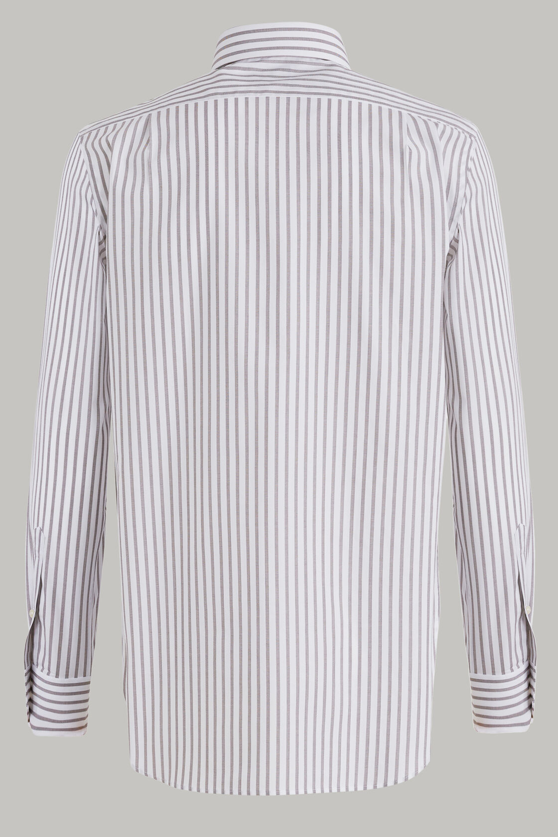 Windsor- kragen hemd mit dunkelbraunen streifen aus elastischer baumwolle, , hi-res