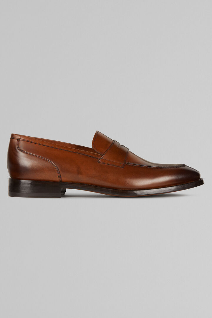 Smooth Brushed Leather Penny Loafers, Leather brown, hi-res