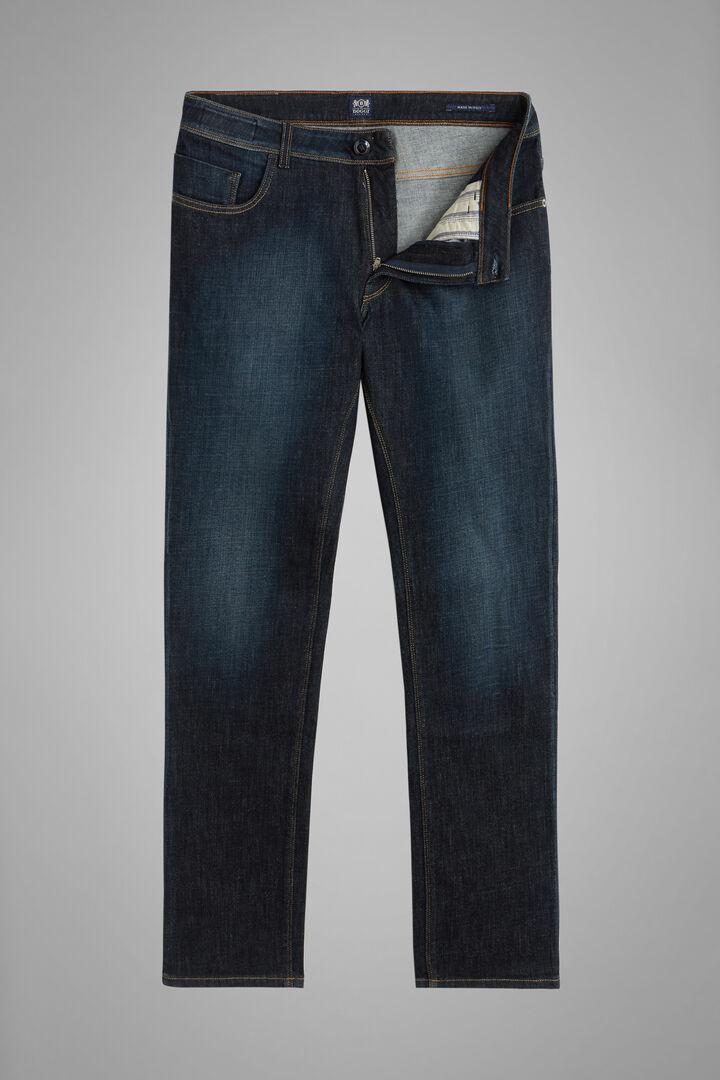 Pantalone 5 Tasche Denim Lavaggio Scuro Regular, Indaco, hi-res
