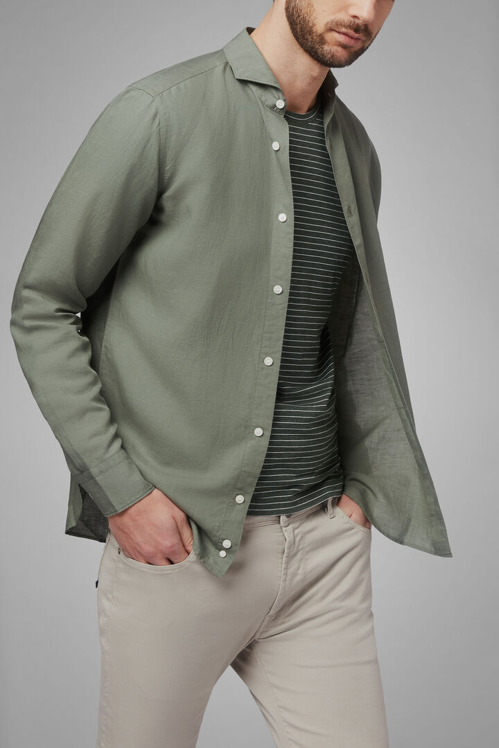 Regular Fit Sand Linen/Tencel Shirt With Open Collar, Military Green, hi-res