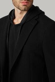Giacca nera in lana b jersey, Nero, hi-res