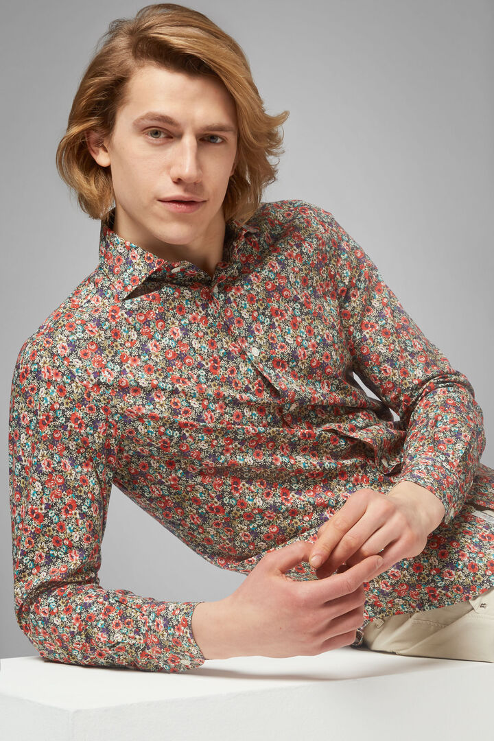 Slim Fit Multicolour Floral Print Shirt With Florence Collar, Multicolor, hi-res