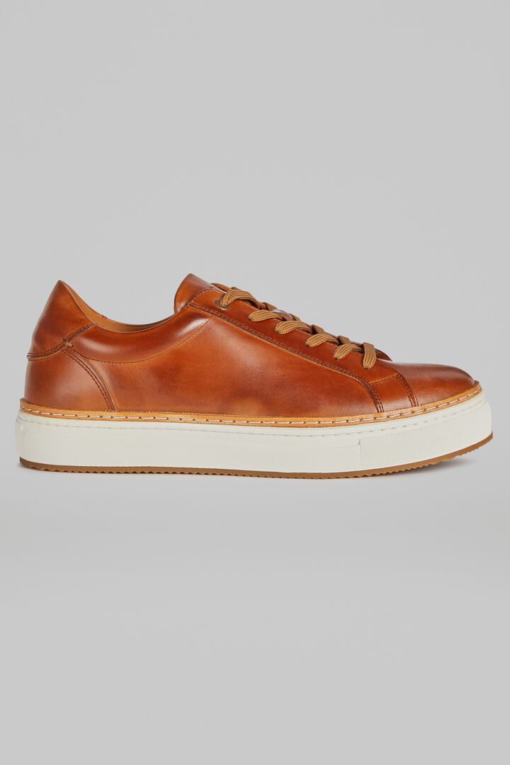Smooth Leather Trainers, Leather brown, hi-res