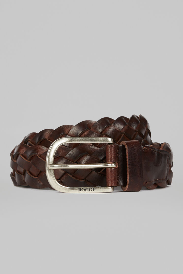 Woven Leather Belt, Hazelnut, hi-res