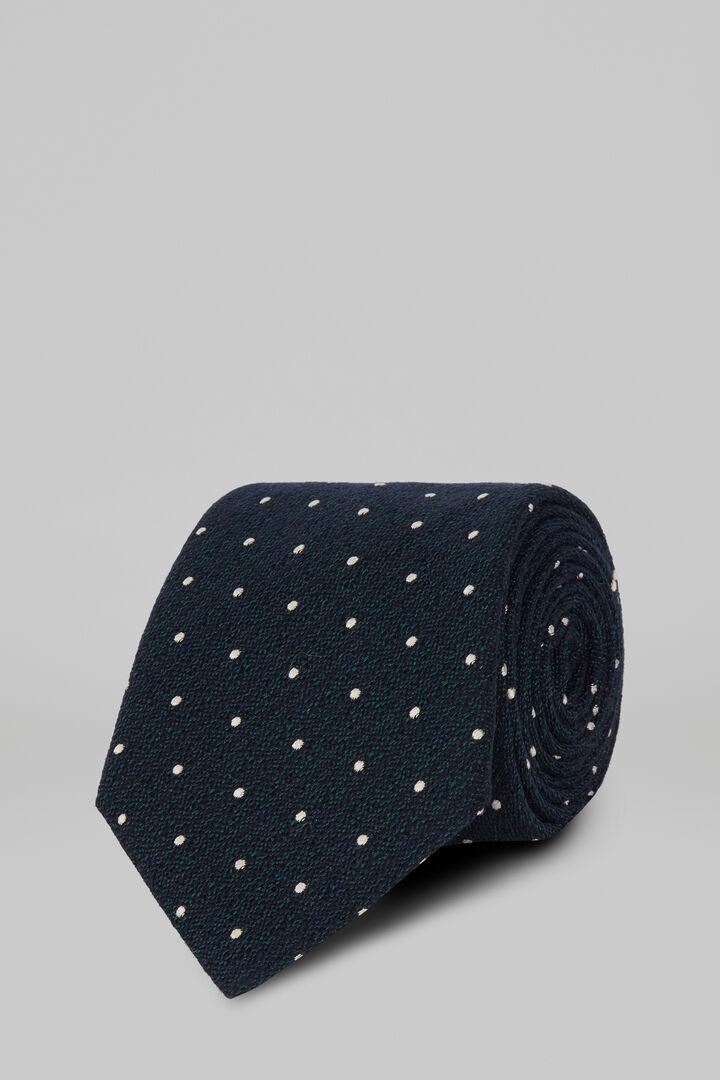Cravatta Pois In Seta Cotone Jacquard, Verde, hi-res