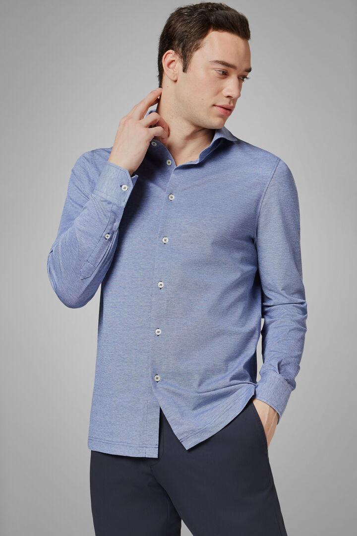 Polo Camicia Rosa Collo Aperto Slim Fit, Blu, hi-res
