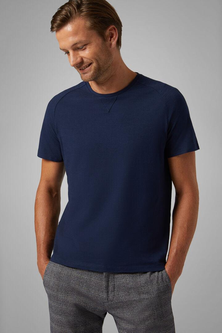 T-Shirt Navy In Jersey Di Cotone, Navy, hi-res