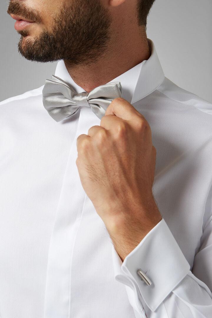 Silver Pure Silk Pre-Tied Bow Tie, Silver, hi-res