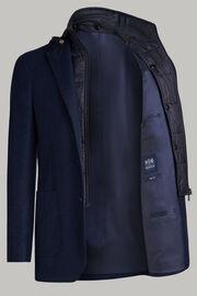 Blaue flanelljacke mit doppeltem kragen, Blau, hi-res