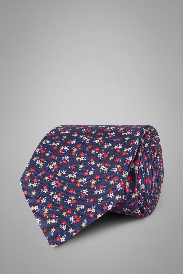 Cravatta Fiore In Seta Stampata, Blu, hi-res