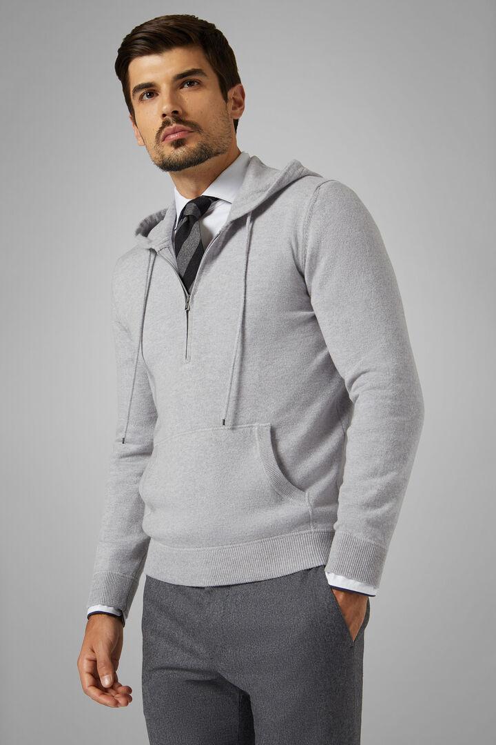 Pure Cashmere Hooded Sweatshirt, Grey, hi-res