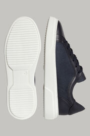 Navyblaue sneakers aus technischem stoff und leder, Navy blau, hi-res