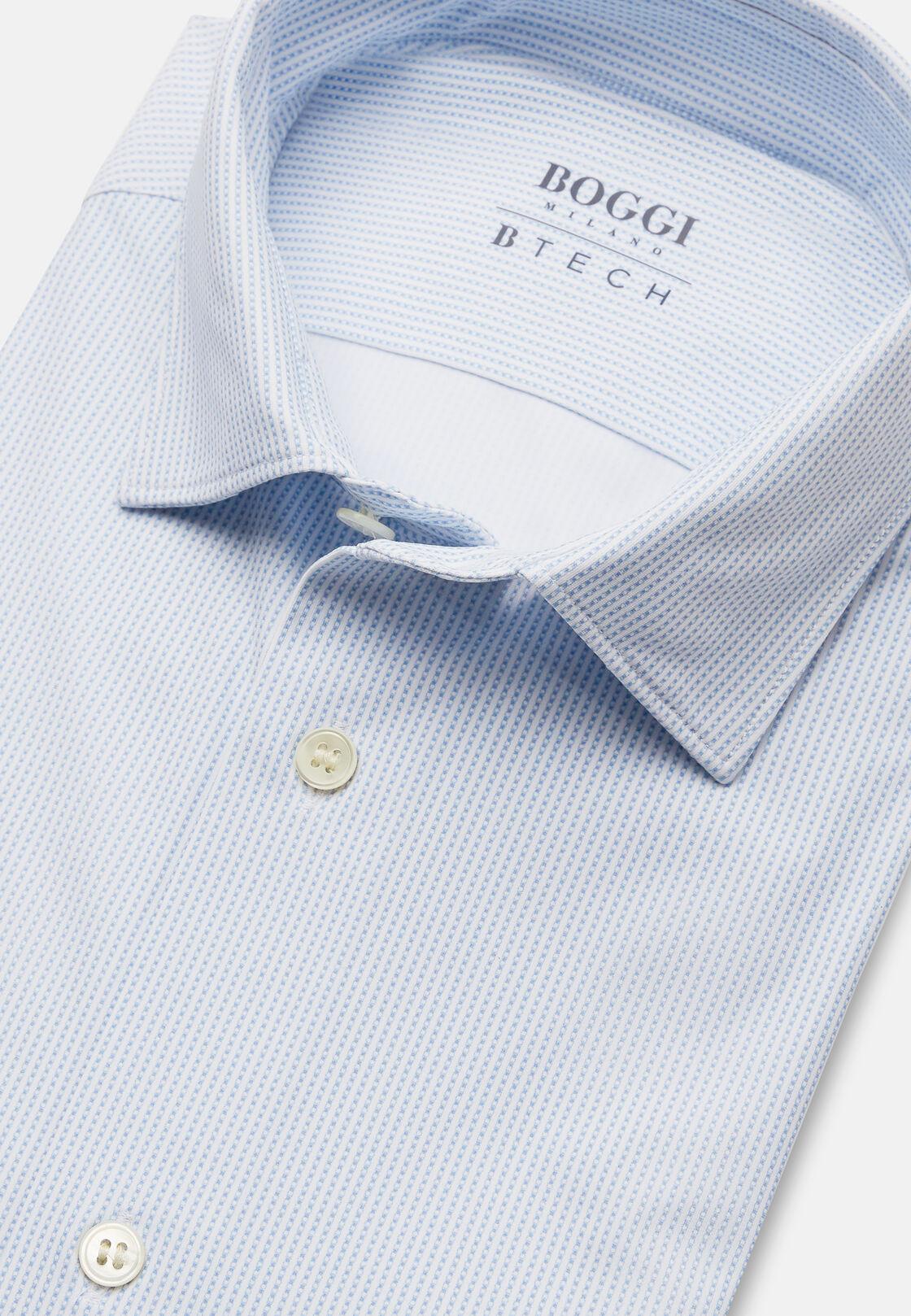 Camicia azzurra in nylon elasticizzato slim, Blu chiaro, hi-res