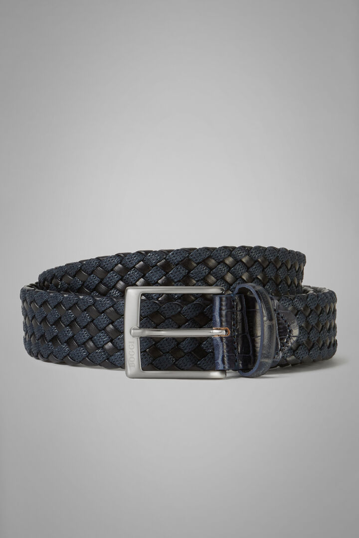 Woven Leather And Cotton Tubular Belt, Navy blue, hi-res
