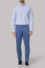 Pantalone In Raso Di Cotone Stretch Slim, Avio, hi-res