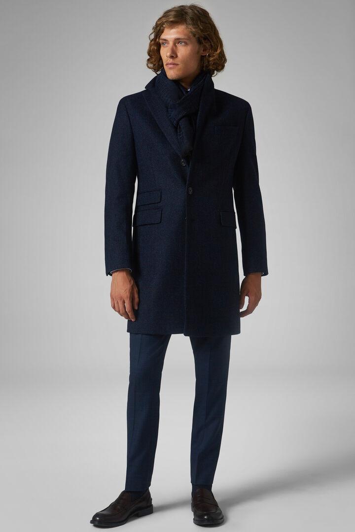 Diagonal Wool Coat, Blue, hi-res