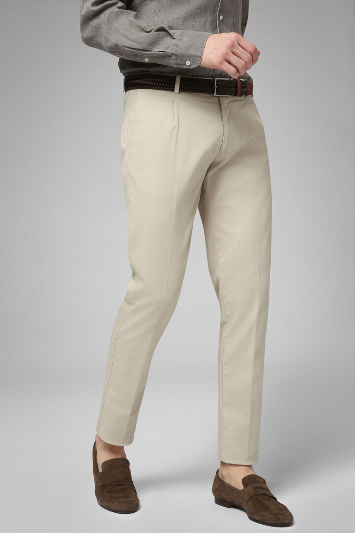 Slim Fit Stretch Cotton And Linen Trousers, Beige, hi-res