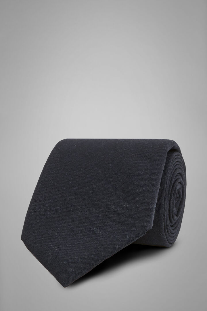 Plain Technical Wool Tie, Navy blue, hi-res
