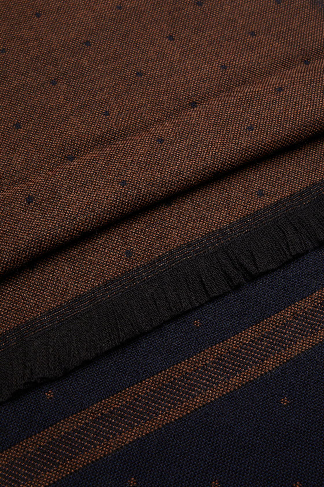 Wollschal mit polka dots, Braun - Blau, hi-res