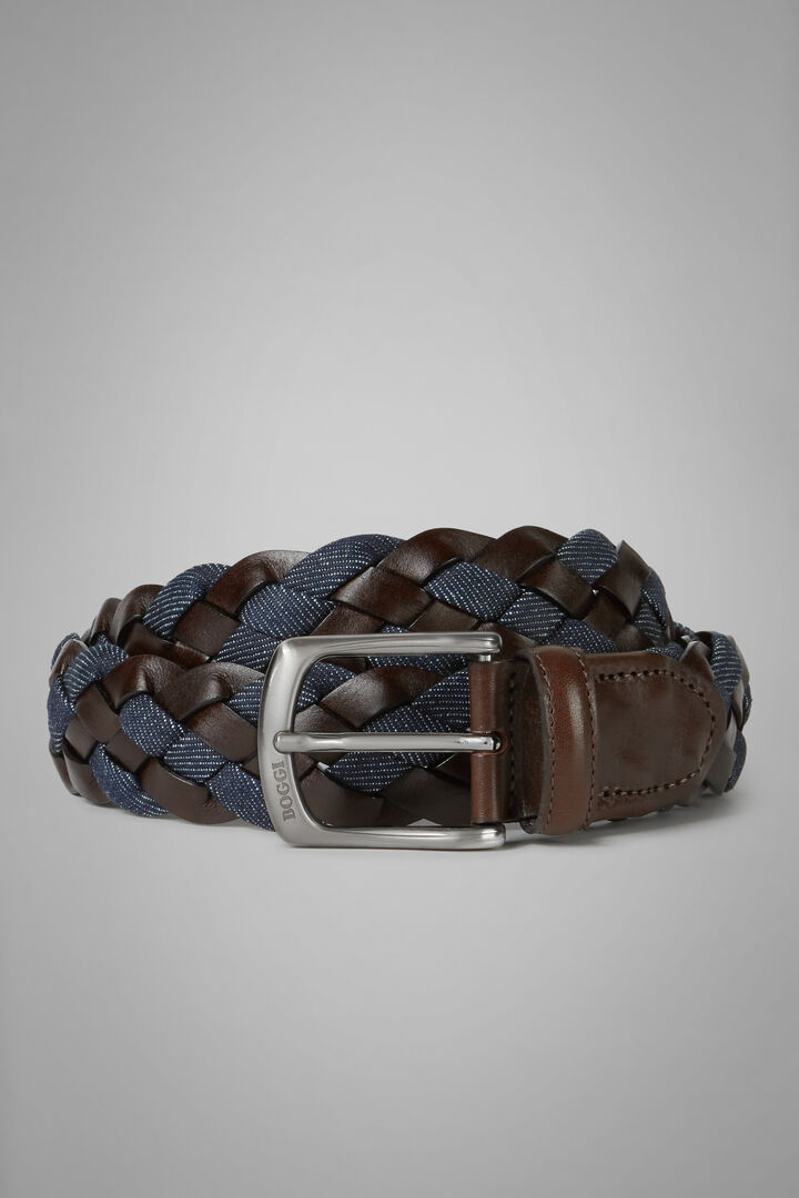 Woven Belt In Recycled Denim And Leather, Denim, hi-res