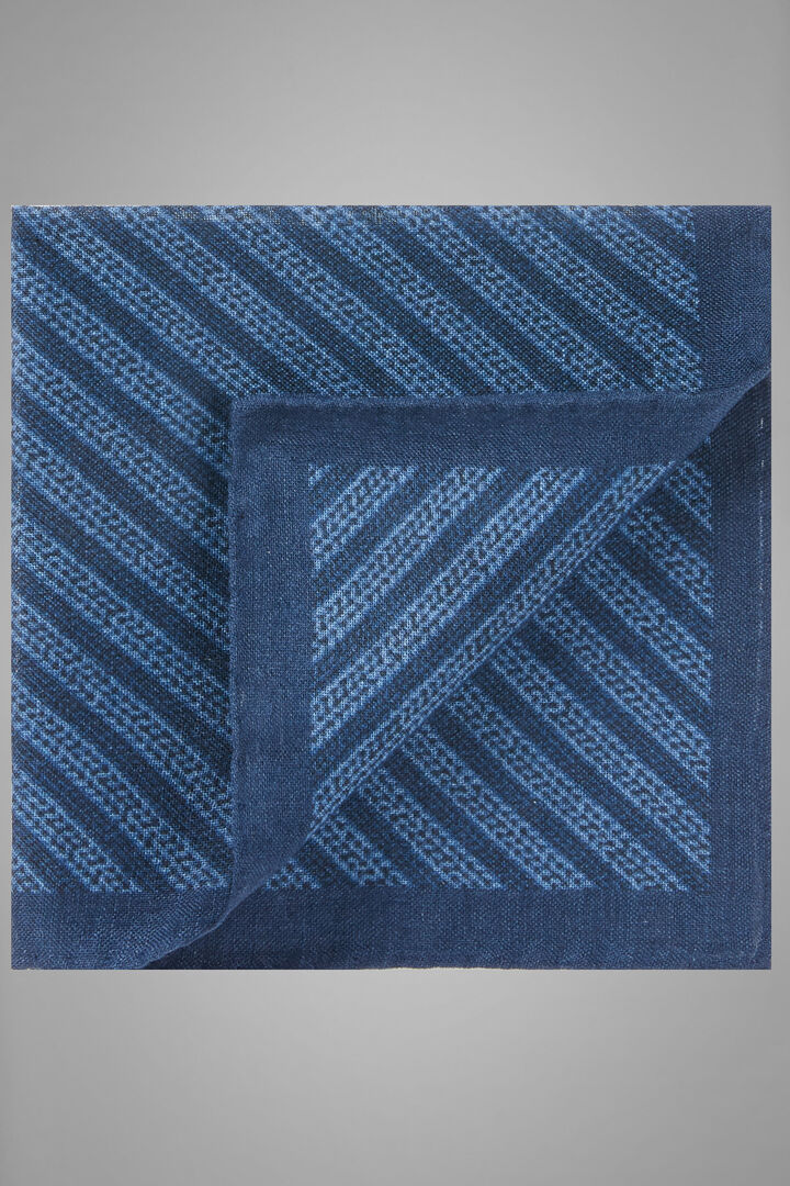 Printed Diagonal Weave Wool/Silk Pocket Square, Blue, hi-res