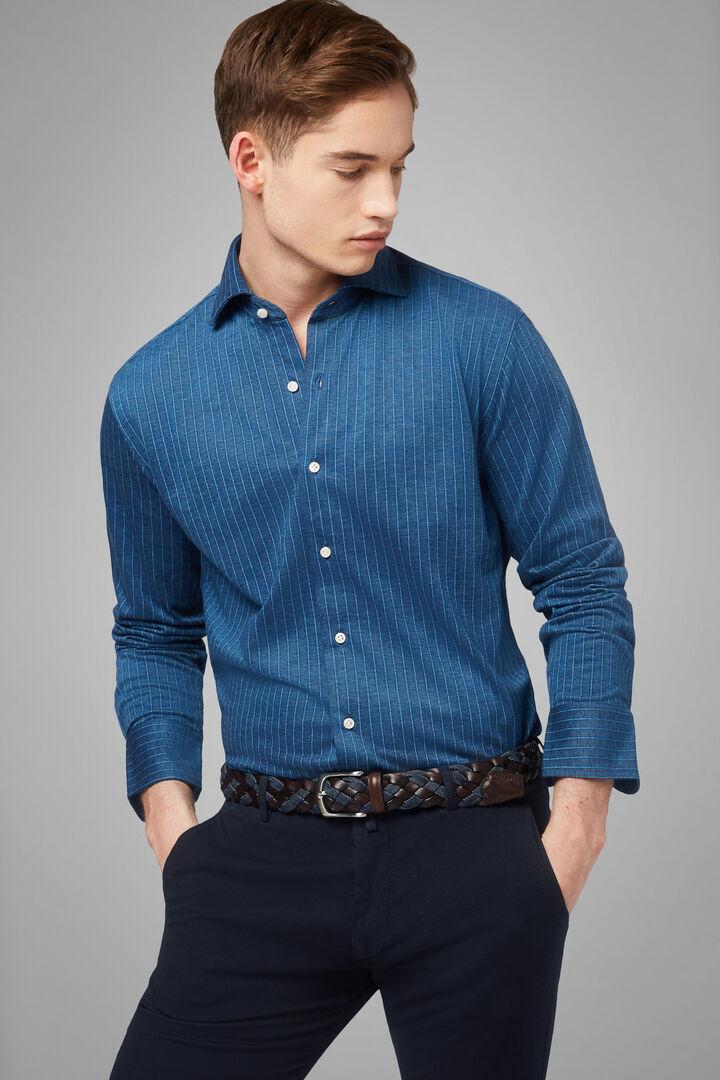 closed collar denim polo shirt slim fit, Denim, hi-res