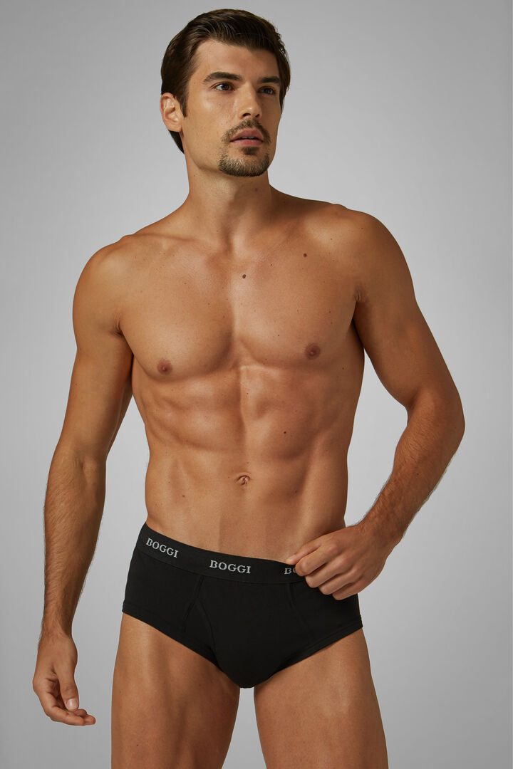 Black Stretch Cotton Briefs, Black, hi-res