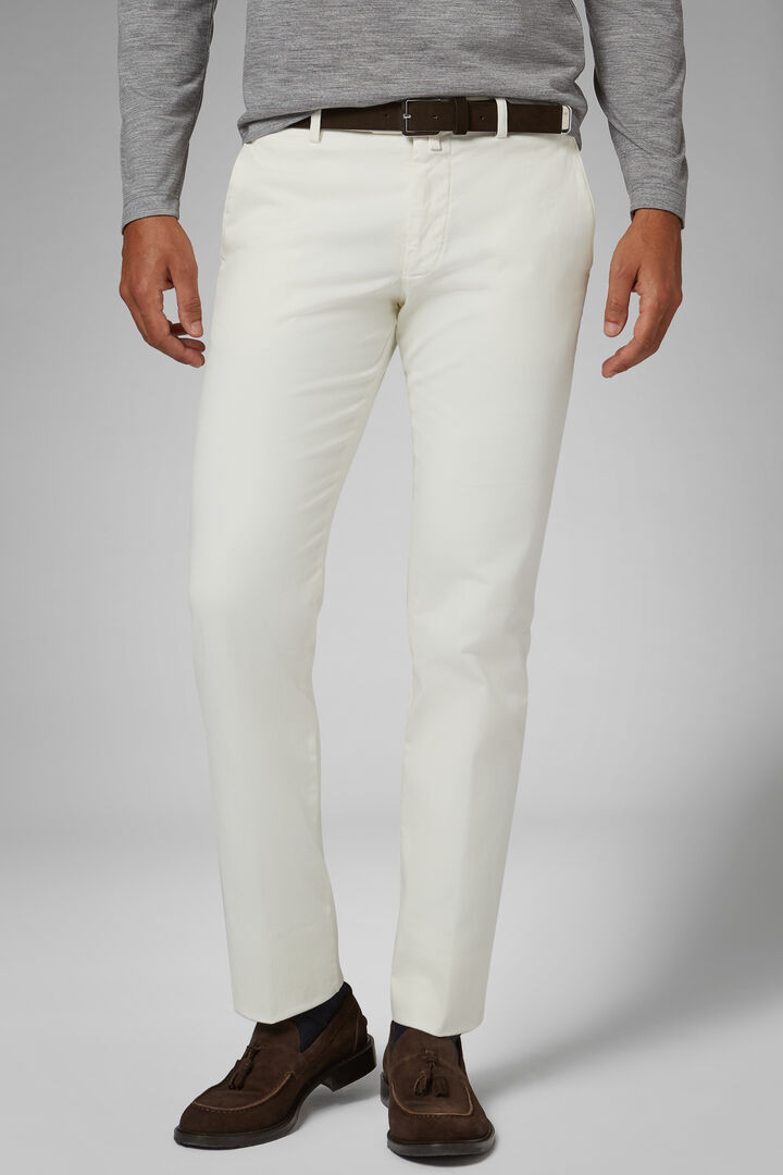 Slim Fit Stretch Cotton Satin Trousers, Cream, hi-res