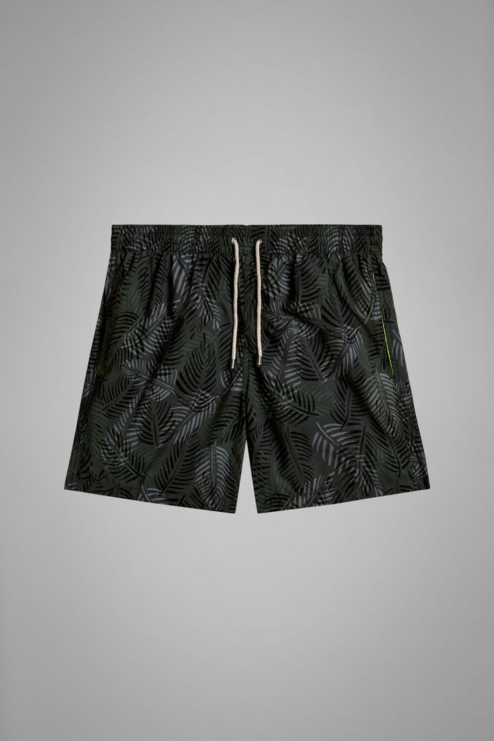 Green Camouflage Print Swimming Trunks, Green, hi-res