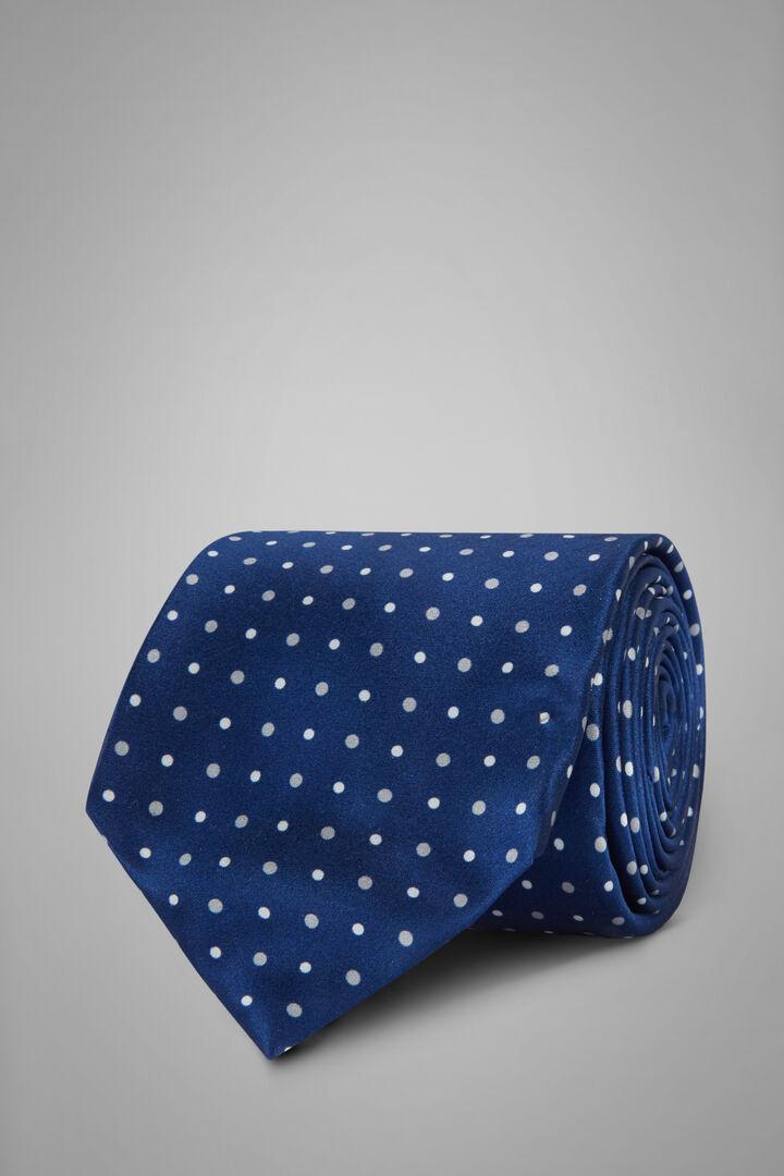 5-Fold Polka Dot Print Silk Tie, Bluette, hi-res