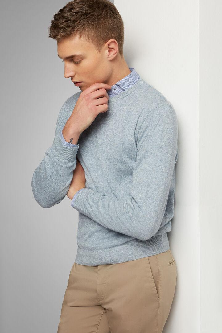 Linen & Cashmere Round Neck Jumper, Light blue, hi-res