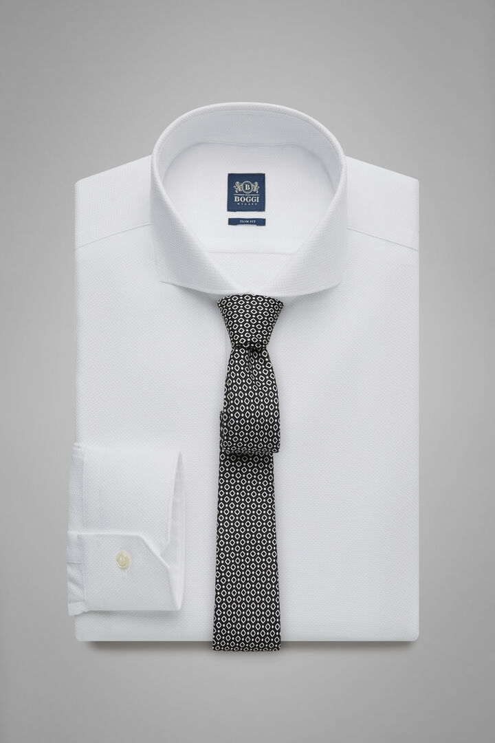 Slim Fit White Honeycomb Textured Shirt With Naples Collar, White, hi-res