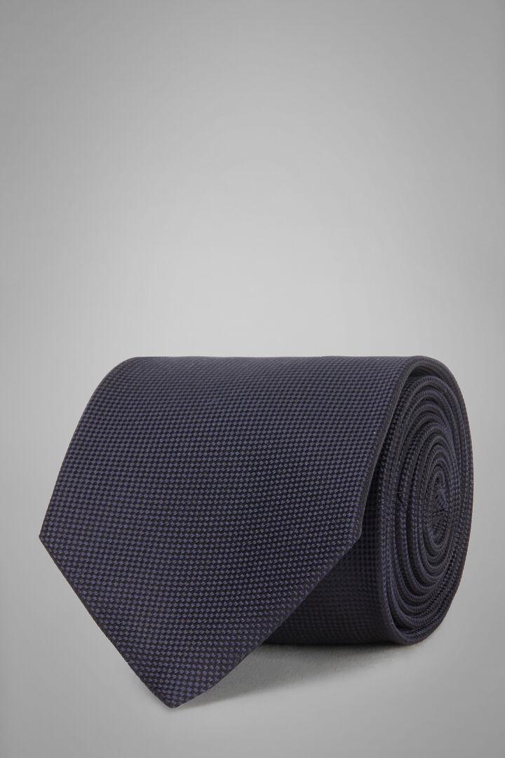 Cravatta Micro Strutturata In Seta Jacquard, Navy, hi-res