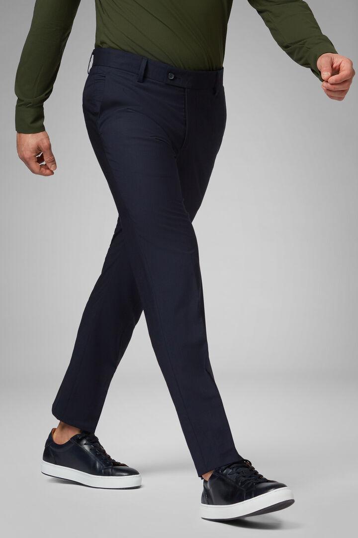 Pantalon Couleur Unie En Laine Super Légère, bleu marine, hi-res
