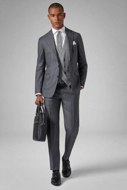 Grey Wool Napoli Suit, Grey, hi-res