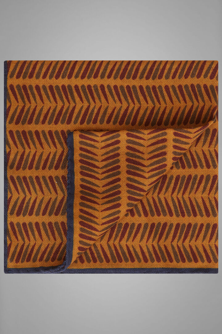 Herringbone Print Wool/Silk Pocket Square, Ochre, hi-res