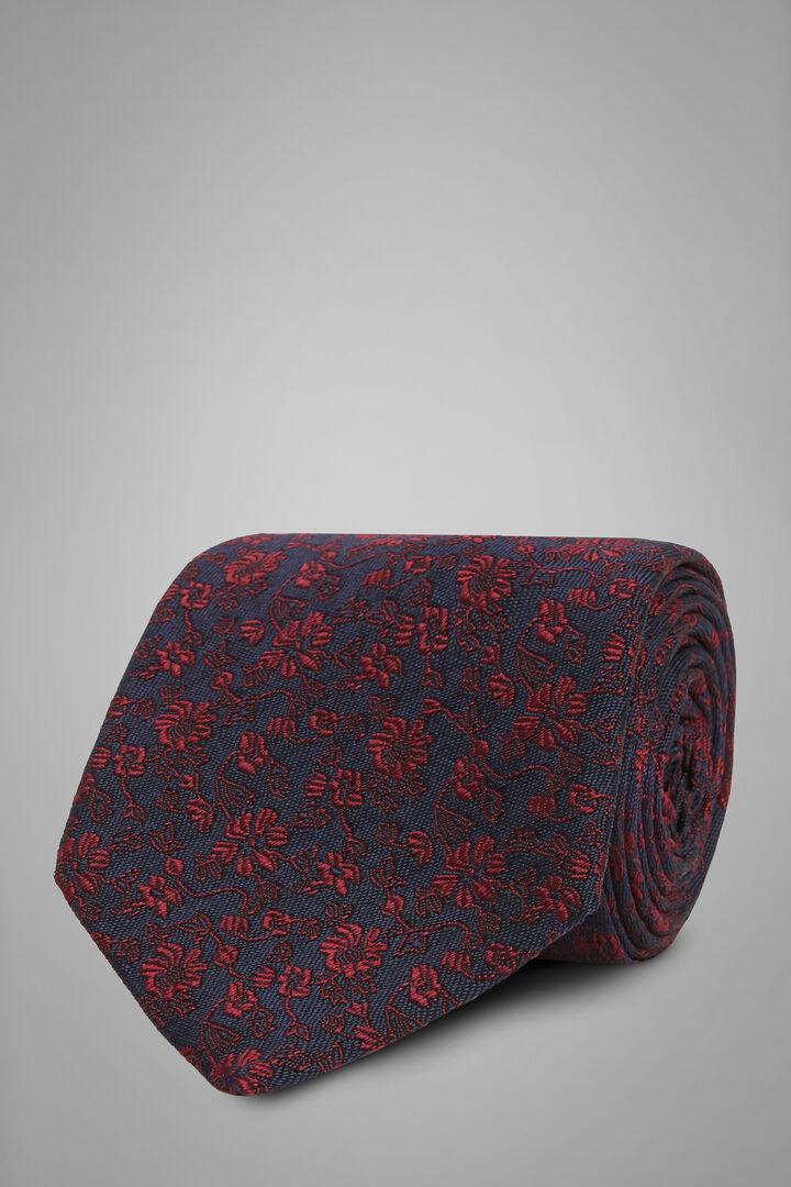 Cravatta Fiore In Seta Cotone Jacquard, Blu - Bordeaux, hi-res