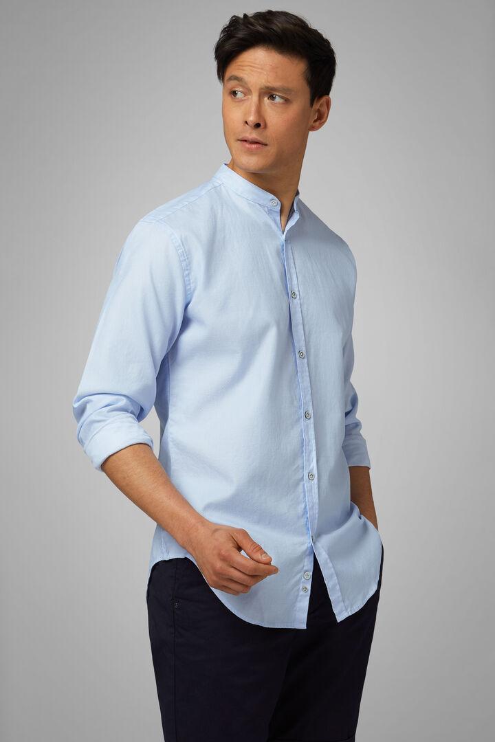 Camicia Azzurra Collo Coreano Regular Fit, Azzurro, hi-res