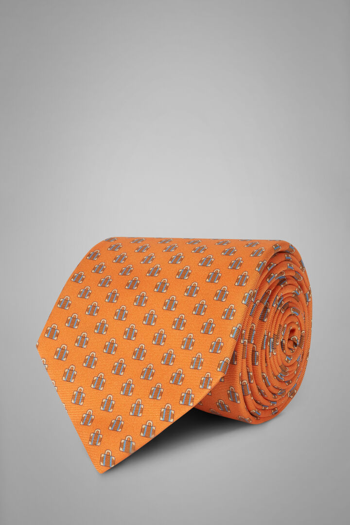 Suitcase Print Silk Tie, Orange, hi-res