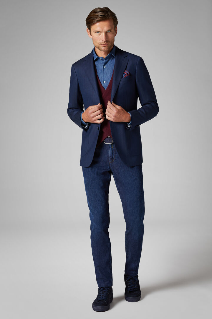 Blue Wool Milano Blazer, Blue, hi-res