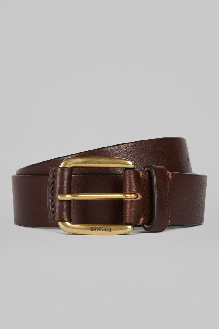 Casual Leather Belt, Dark brown, hi-res