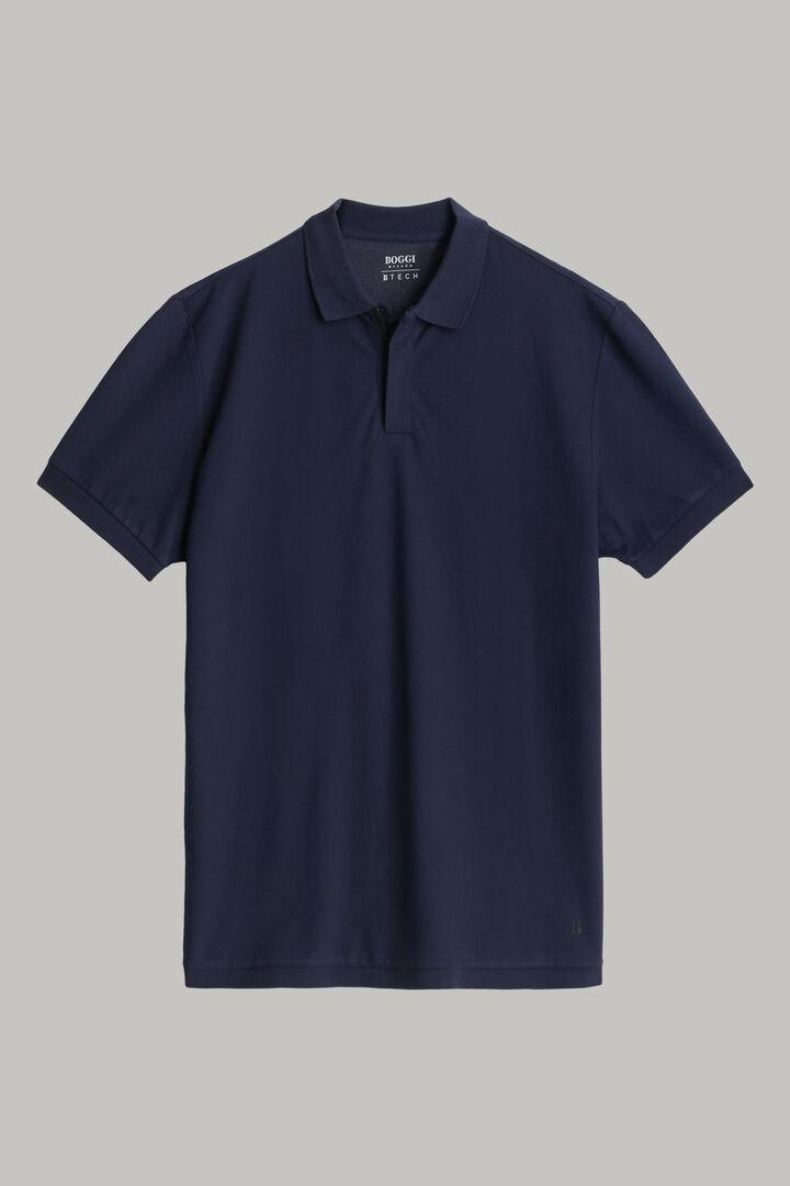 Polo En Piqué De Coton Et Nylon Coupe Droite, bleu marine, hi-res