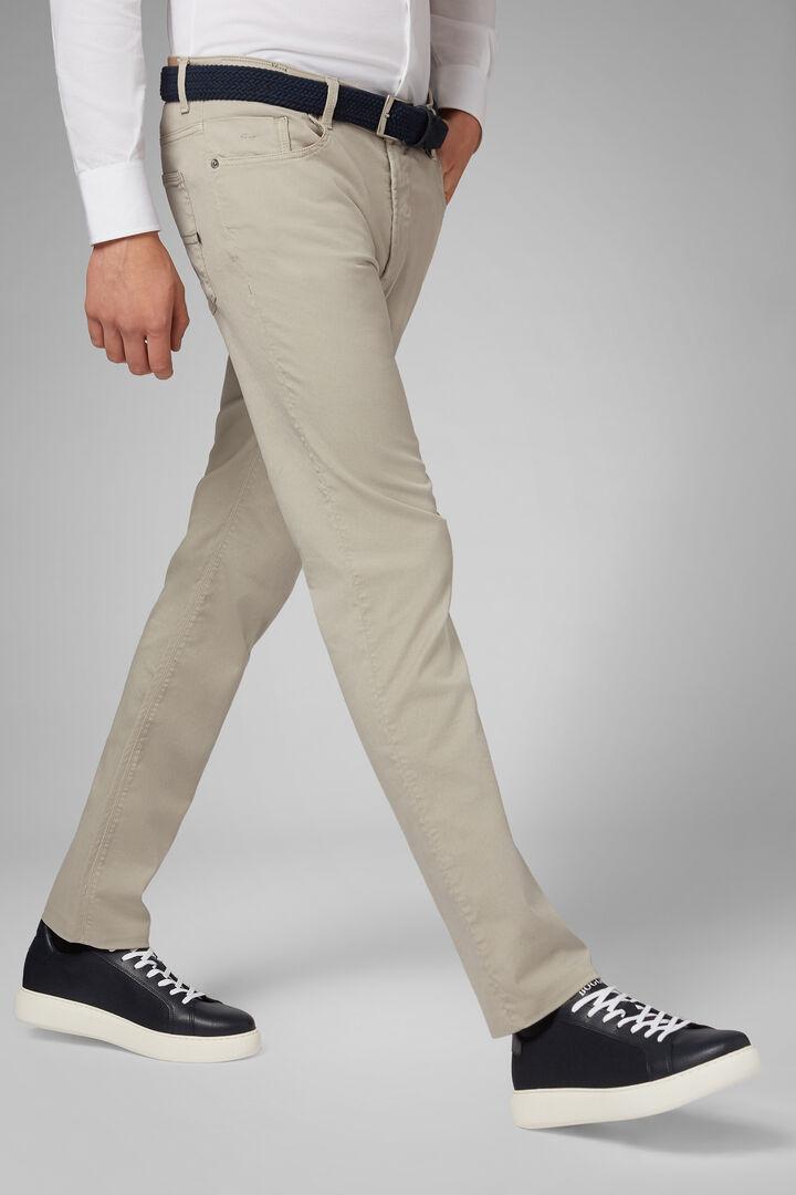 Pantalon 5 Poches En Gabardine De Coton Tencel Coupe Droite, Beige, hi-res